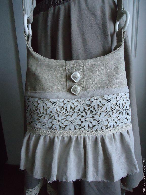 "Купить Бохо-сумка ""Кружевная"" - серый, сумка, бохо-сумка, бохо, сумка ручной работылён, натуральная кожа, кружево, бязь Размер: 29х27 см  2000 руб"