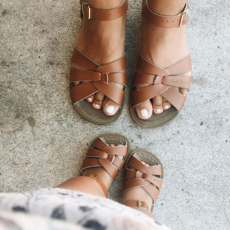 mom + mini in saltwater sandals