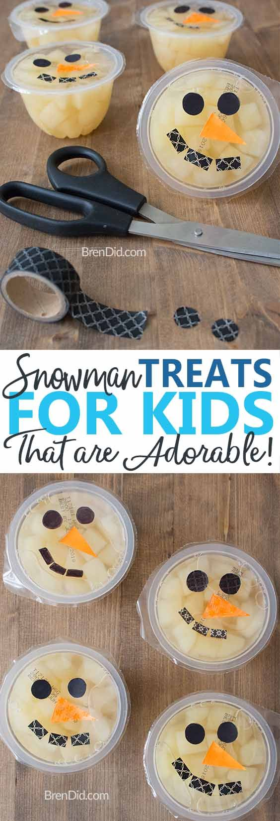 Easy snowmen fruit cups are a healthy snack for kids | winter party ideas | healthy kids snack | healthy snack | classroom party idea | kids Christmas party #classroomparty #holidayparty #healthysnack  | via @brendidblog