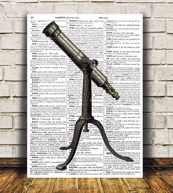 Gorgeous Antique print for your home and office. Amazing Telescope poster. Adorable Dictionary decor. Pretty contemporary Vintage print.    SIZES:
