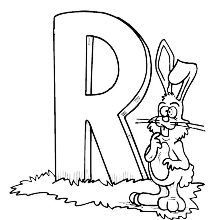 R For Happy Rabbit Coloring Pages