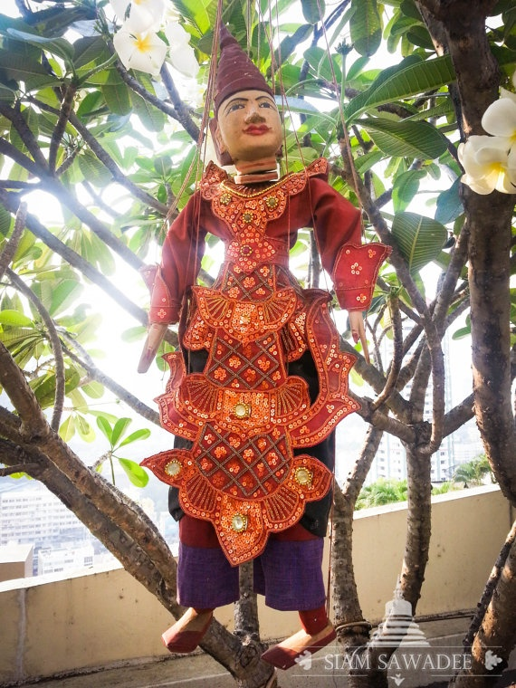 SOLD. Rare vintage Burmese Marionette PuppetYoke Thay by SiamSawadee, ฿5000.00