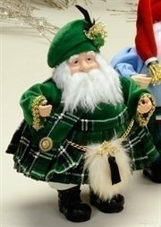 International Christmas Irish Santa Claus Figures in Green Kilt & Sporran
