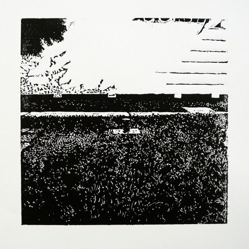 Staničná 353-10 [printmaking, cutting into MDF] #printmaking #woodcut #bunker #art #shelters