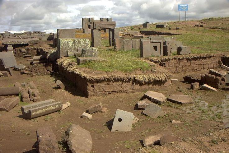Puma Punku, Bolivia. Precisely engineered stone blocks toss around like an explosion occurred. Or a flood.