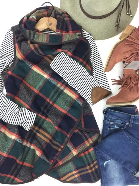 Plaid vest with striped top and elbow patches to boot!  It's fall and winter wardrobe perfection!