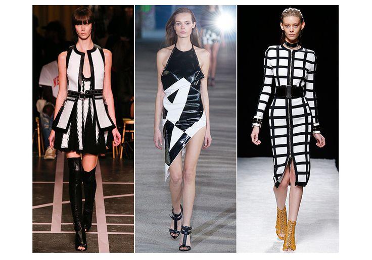 20 tendances mode du printemps-été 2015: Noir & blanc optique (associations de matières, les effets de clous, de zips, de mat et de brillant)