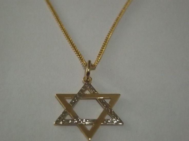Linda corrente com pingente Estrela de Davi em 2 cores - folheado a ouro e prata