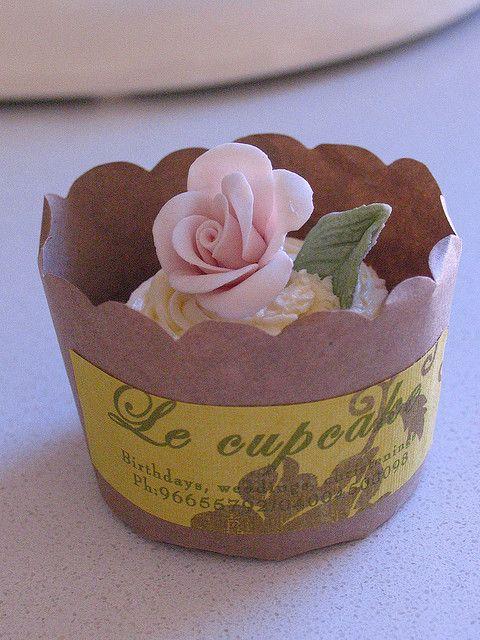 Flower cupcake / shabby chic cupcake by kylie lambert (Le Cupcake), via Flickr