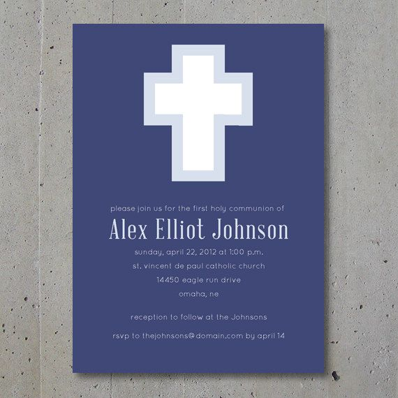 Modern Cross First Communion, Christening / Baptism Invitation and Announcement. $24.00, via Etsy.
