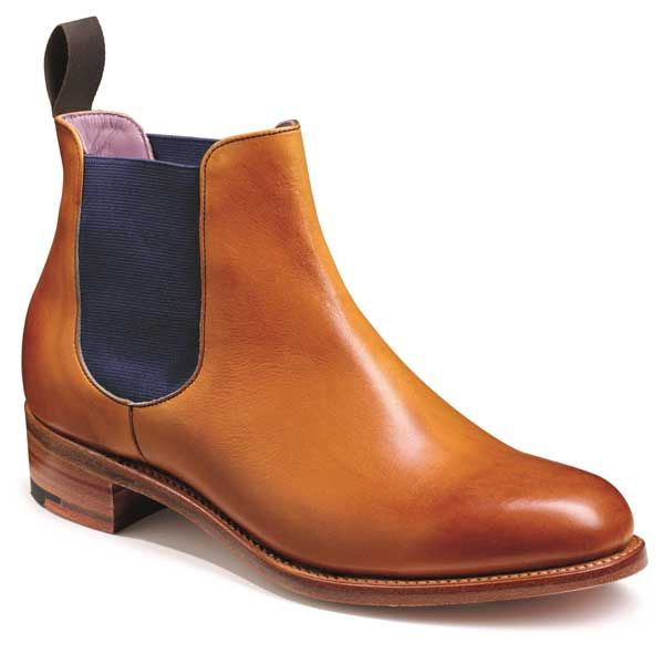 Barker Shoes – Violet – Ladies Chelsea Boots – Cedar Calf With Blue Elastic. A stylish Chelsea boot featuring a coloured elastic gusset
