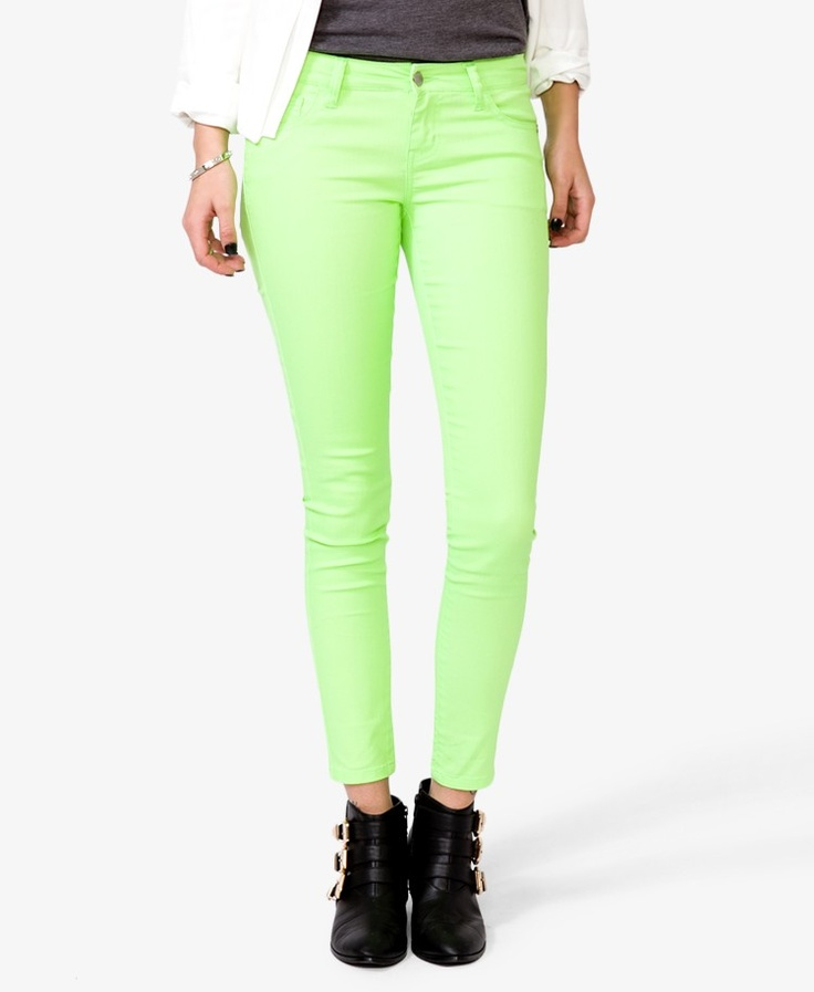 Neon colored skinny jeans