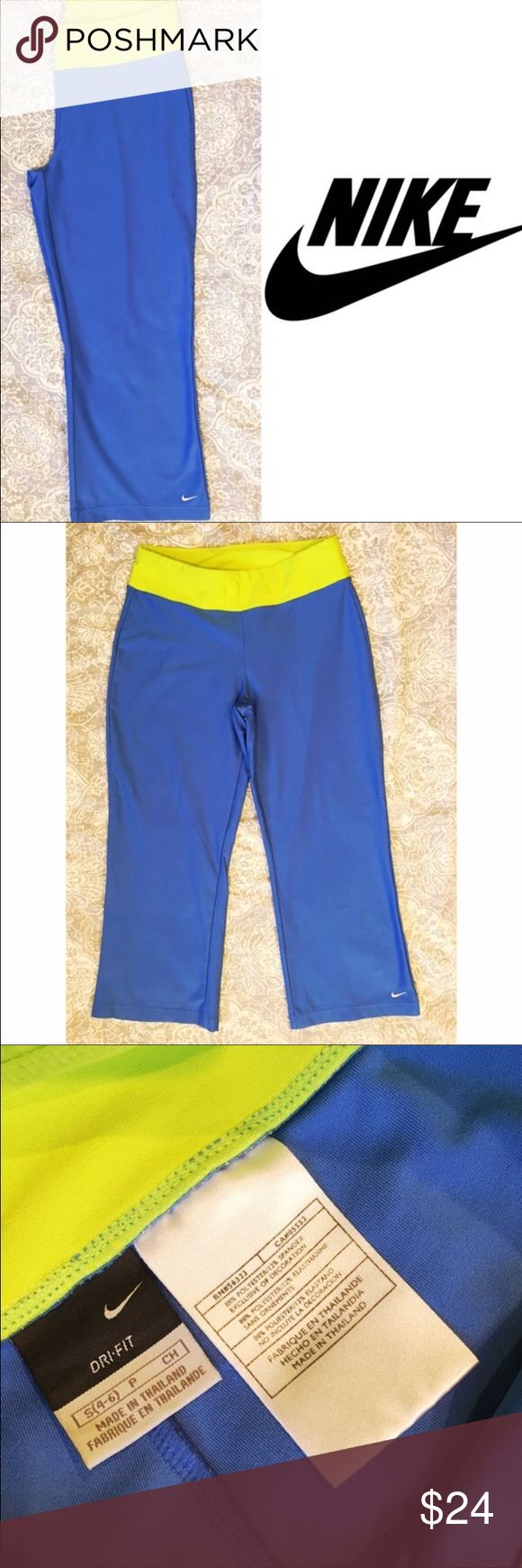 Nike bright blue cropped Dri-Fit pants Fun bright blue Nike Dri-Fit cropped pants with yellow/green trim. Embroidered white 'swoosh' on bottom hem. Excellent condition Nike Pants Ankle & Cropped
