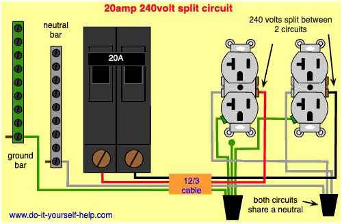 Wiring Diagram For Two 20 Amp  120 Volt Circuit Breaker