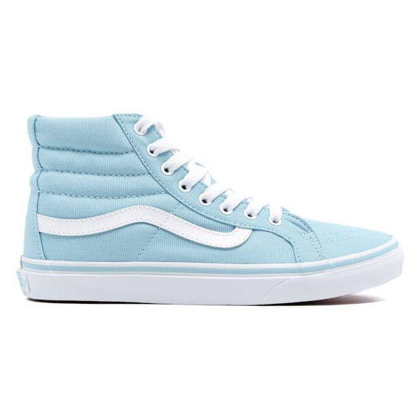 Vans Women's Sk8-Hi Slim Hi-Top Trainers ($70) ❤ liked on Polyvore featuring shoes, sneakers, blue, vans shoes, blue sneakers, lacing sneakers, blue shoes and round toe sneakers