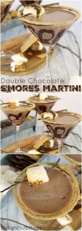 All the amazing flavors of s'mores in one glorious cocktail!  Made with marshmallow vodka, creme de cocoa, along with graham cracker crumbs, and toasted marshmallows, this drink will take you back to fun campfire memories, without the sticky fingers!