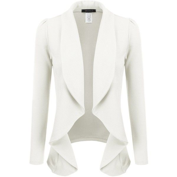 Doublju Classic Draped Open Front Blazer For Women With Plus Size (1.035 RUB) ❤ liked on Polyvore featuring outerwear, jackets, blazers, open front jacket, draped blazer, plus size white blazer, plus size white jacket and women's plus size jackets