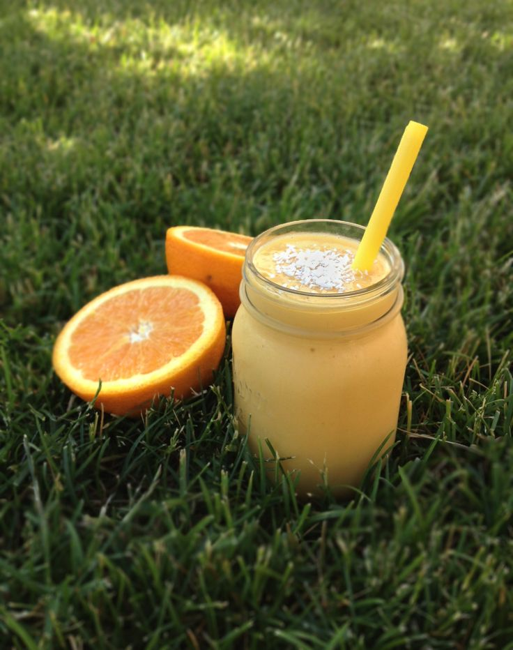 3 cups Almond or Coconut Milk (I prefer almond) 2 Ripe Bananas, peeled 1-1/2 Seedless Navel Oranges, peeled and sectioned 2-1/2 cups Frozen Mango Chunks Shredded Coconut, for garnish (optional)