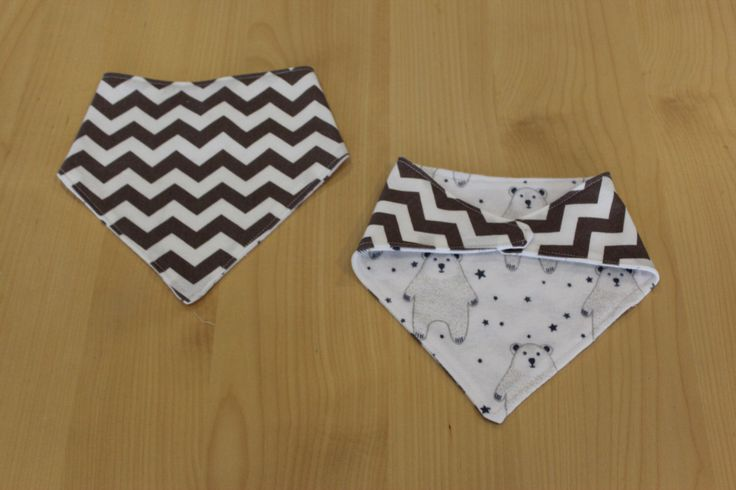 Taupe chevron/ bear print baby bandana/ dribble bib, available from my Etsy shop https://www.etsy.com/au/listing/243525501/reversible-bandana-bib-large-taupe
