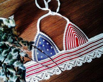 Crochet top Crochet halter Crop top Bohemian by HplusQknitwear