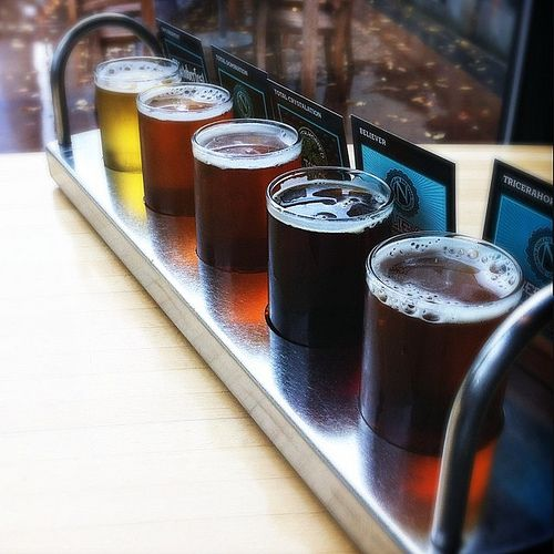 Flights at Ninkasi Brewing Company in Eugene, OR, come with your choice of  five