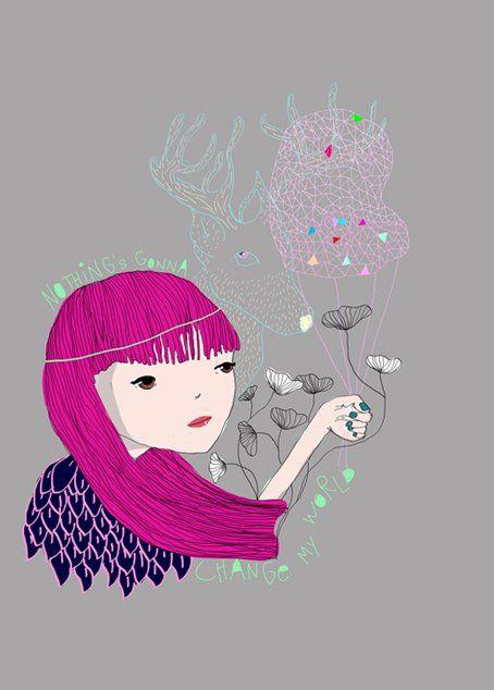 nothing's gonna change my world  illustration by ELDA CINGOLANI  http://eldacingolani.tumblr.com/  https://www.facebook.com/eldacingolaniillustration/