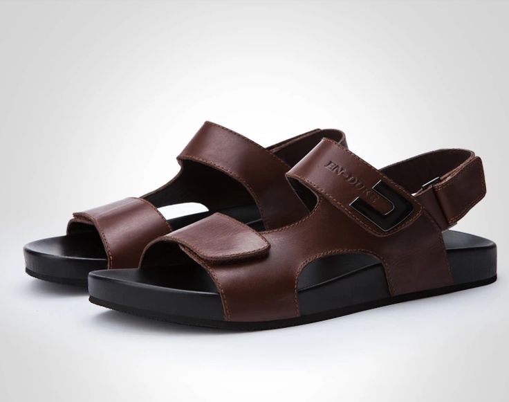 Mens Fashion Sandals Beach Back Strap Leather Black Coffee