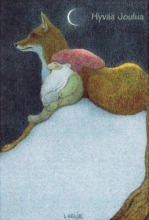 almaraye:  folkthings:  Vintage Finnish Christmas card by Lennert Helje  ~~