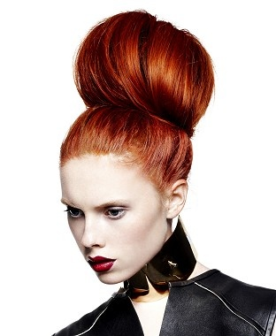 A long red straight coloured updo bun hairstyle by Gooseberry