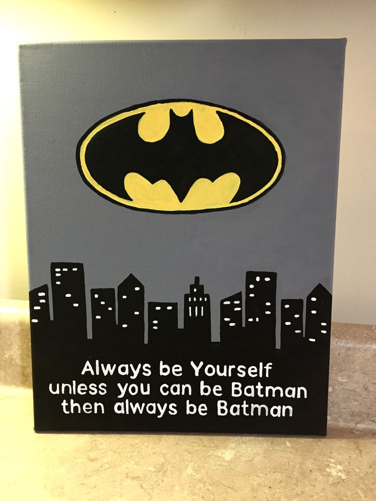 Batman painting made by using Cricut Explore to make a stencil