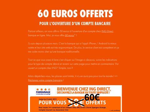 Gagnez 60 euros... rien qu'en ouvrant un compte bancaire en ligne