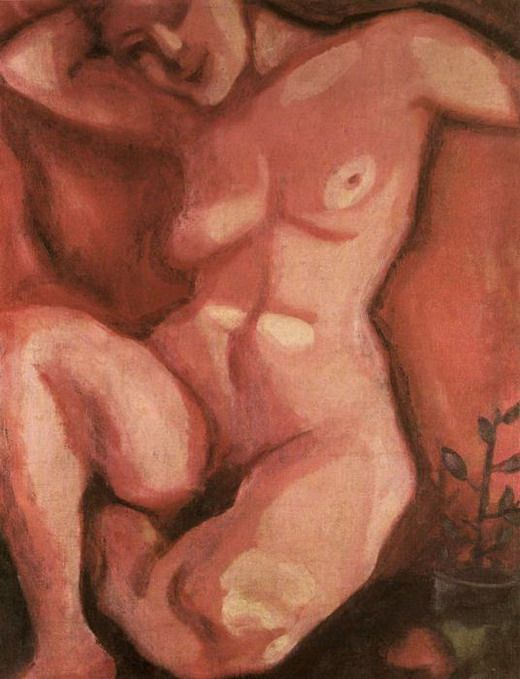 """Red Nude Sitting Up"". 1908    Private collection By Chagall: Artmarc Chagall, Nude Sit, The Artists, Oil On Canvas, Nude Art, Red Nude, Artists Sisters, Art Marc, 1908 Red"