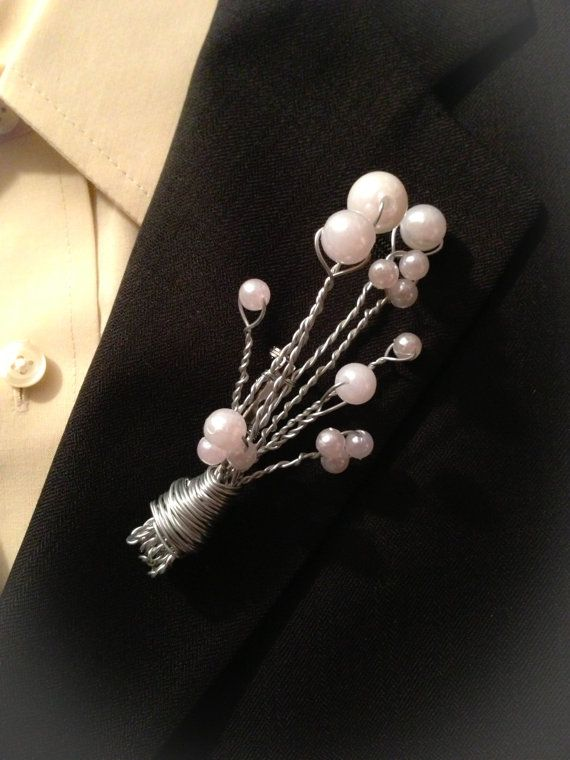 Wired Pearl Spray Alternative Boutonniere - For the non-traditionalist ... a masculine wired spray of pearls with a pin back. Perfect for the off-beat Groom and his guys. If I can wire it - you can have it made into a boutonniere or bouquet.