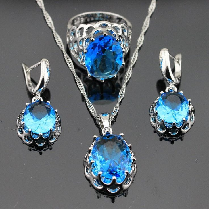 925 Silver Huge Round Blue Topaz Jewelry Sets For Women — $36.99 (Save 26%!) Item Type:Jewelry Sets Fine or Fashion:Fashion Included Additional Item Description:Pendant/Necklace Chain/Ring/Earrings…