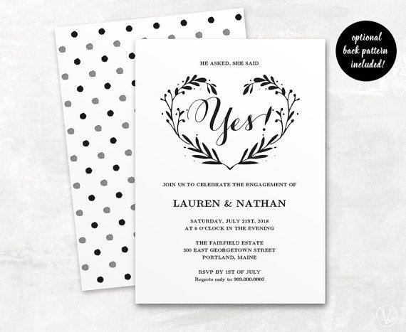 Engagement Invitation Template Printable Engagement By VineWedding  Engagement Invitation Templates