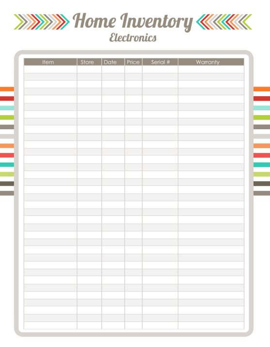 7 best Home Inventory images on Pinterest Home management binder - household inventory list template