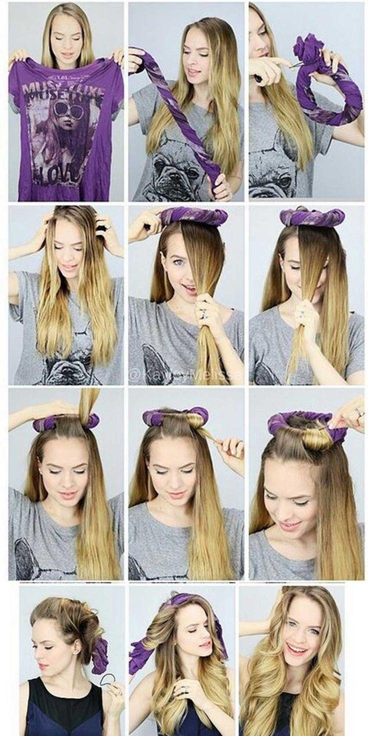 Tişört ile dalgalı saç yapımı
