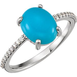 Celebrate December Birthdays with this Oval Cabochon Turquoise & Diamond Accented Ring. Click through for product details OR to locate a jeweler near you! #HowIStuller #HBDDecember