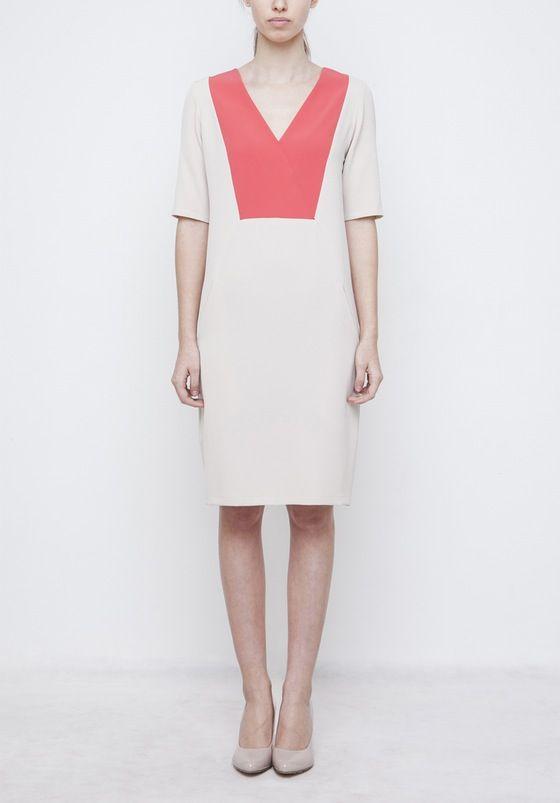 Image of Beige Dress With Coral V Neck
