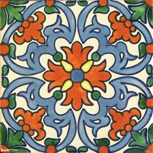 Mexican Talavera Tile: oc 121_4 tilesandtiles.com periwinkle shower tile with this as a border. floor: dk green, gray, sand