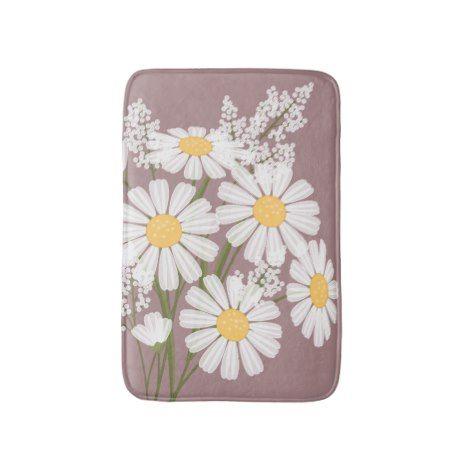 White Daisy Flowers Bouquet on Dark Pink Bathroom Mat #kids #childrens #illustrator