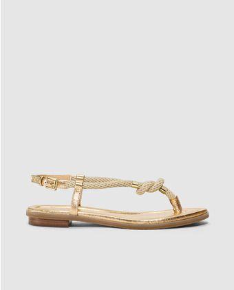 Sandalias planas de mujer de Michael kors de piel doradas. Modelo HOLLY SANDAL.