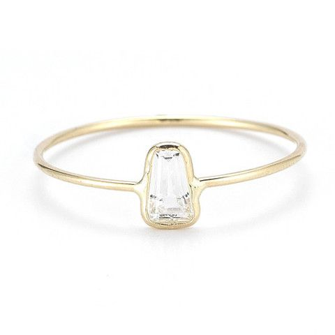 Tapered White Sapphire Ring - Vale - Sunroom