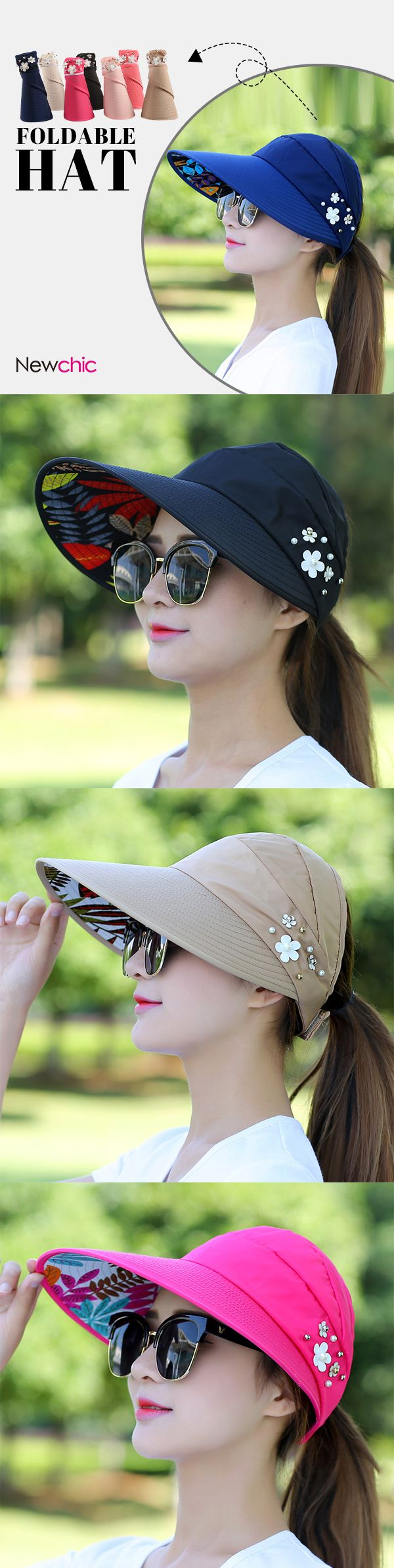 $ 9.48   Women Ladies Summer Outdoor Gardening Anti-UV Foldable Beach Sunscreen Sun Hat Flower Print Cap