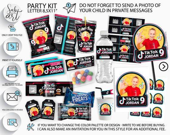 Tik Tok Birthday Decorations Tik Tok Party Supplies Digital Download Printable In 2020 Girls Birthday Party Supplies Boys Birthday Party Supplies Boy Party Decorations