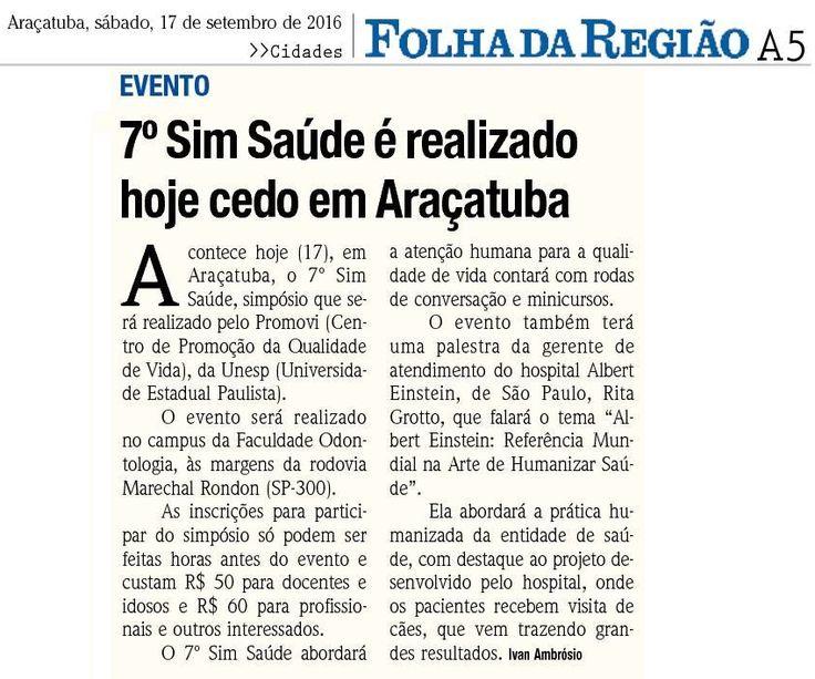 7º Sim Saúde é realizado hoje cedo em Araçatuba. Fonte: Folha da Região