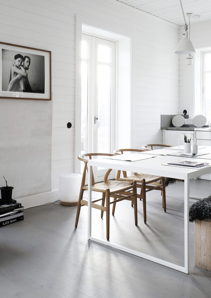 White and natural dining space.