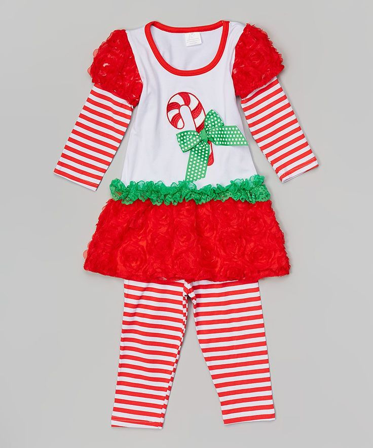 Red & White Candy Cane Tunic & Pants - Infant Toddler & Girls
