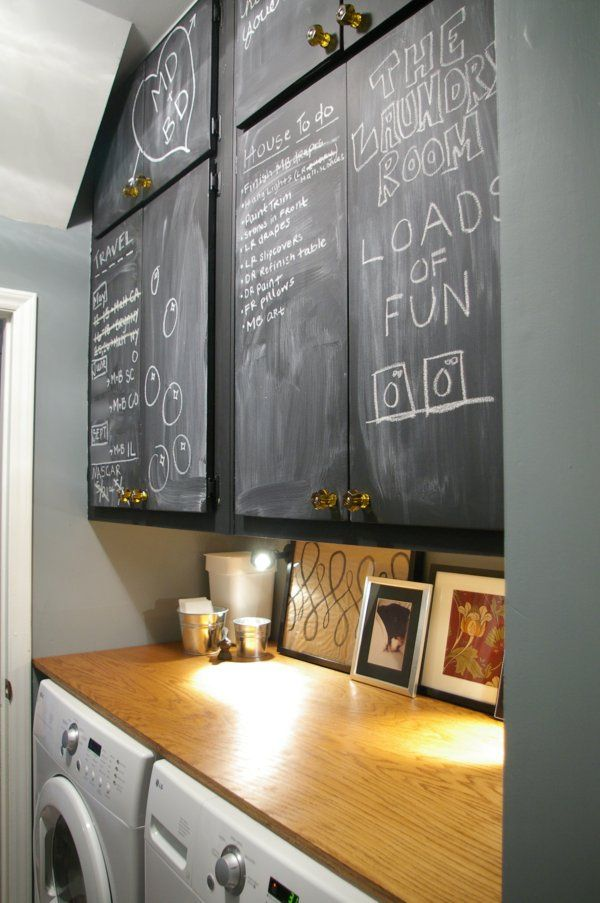 Chalkboard painted cabinets in laundry room - What I really love is the wood all the way across the top of the washer and dryer.