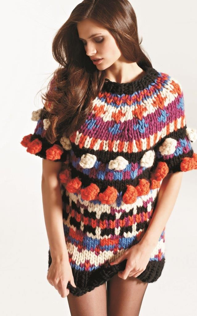 En helt spesiell genser i megamaske-strikk, inspirert av Sister by Sibling.